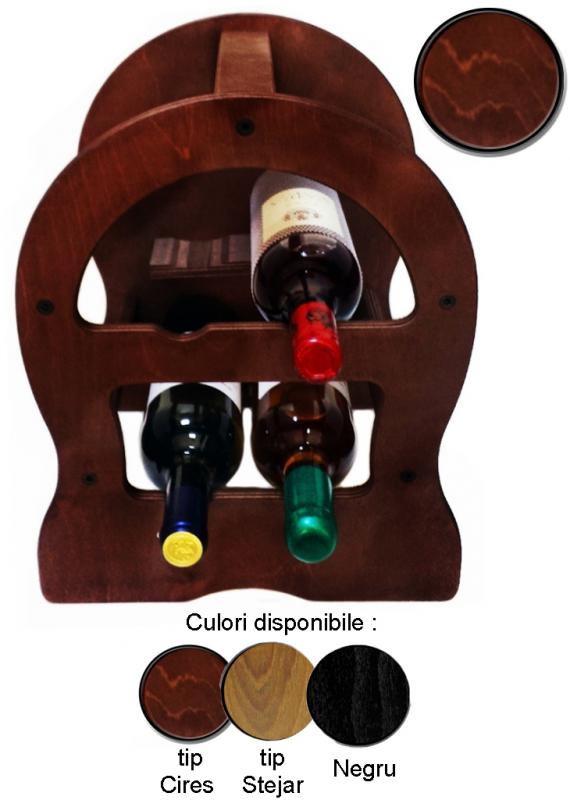 Raft lemn 4 sticle vin