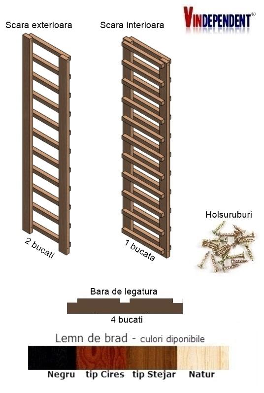 Raft din lemn pentru 22 sticle