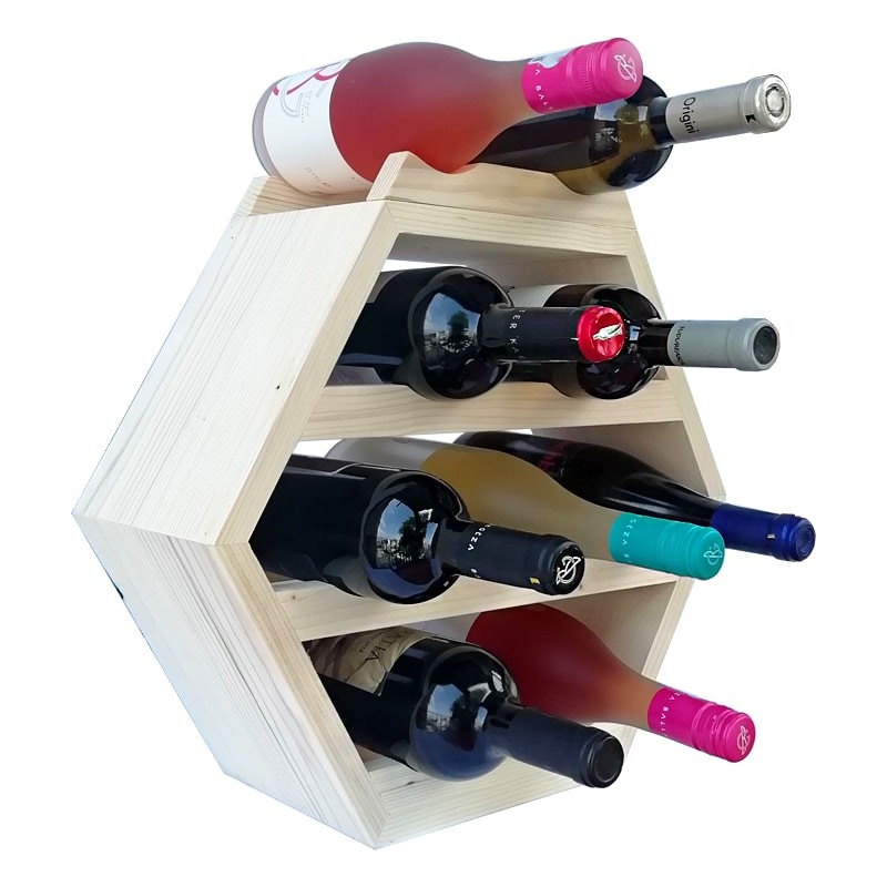 Raft hexagonal 9 sticle vin