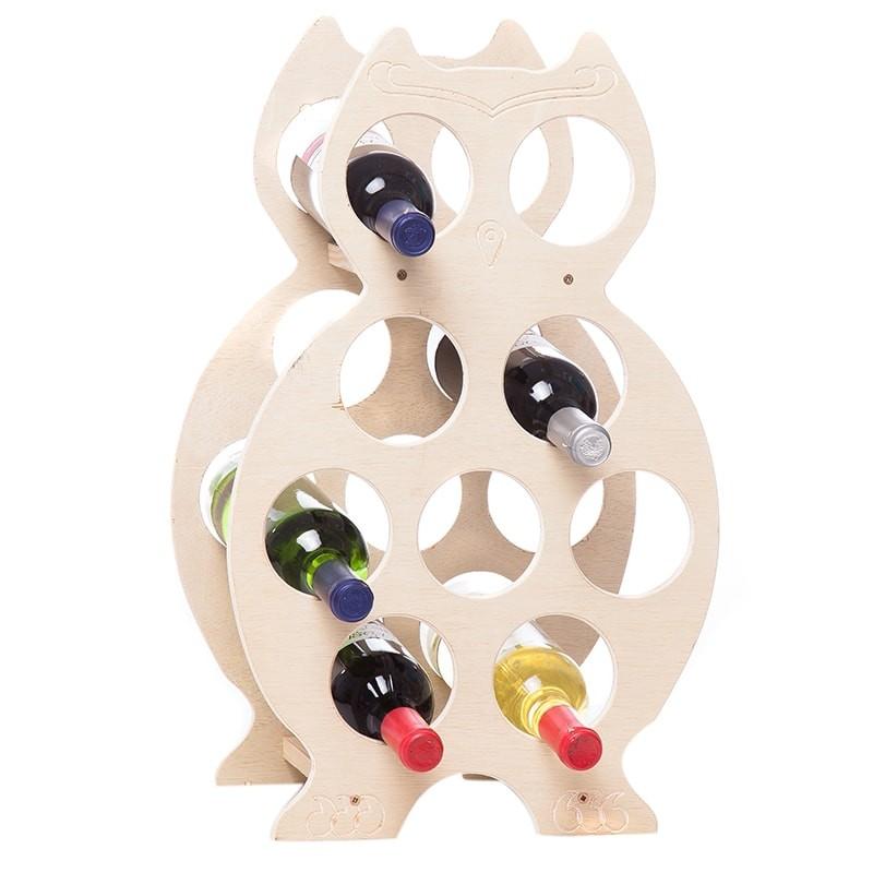 Suport natur forma bufnita 9 sticle vin
