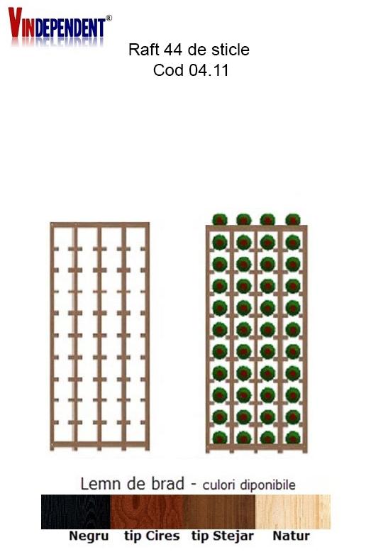 Raft din lemn pentru 44 de sticle