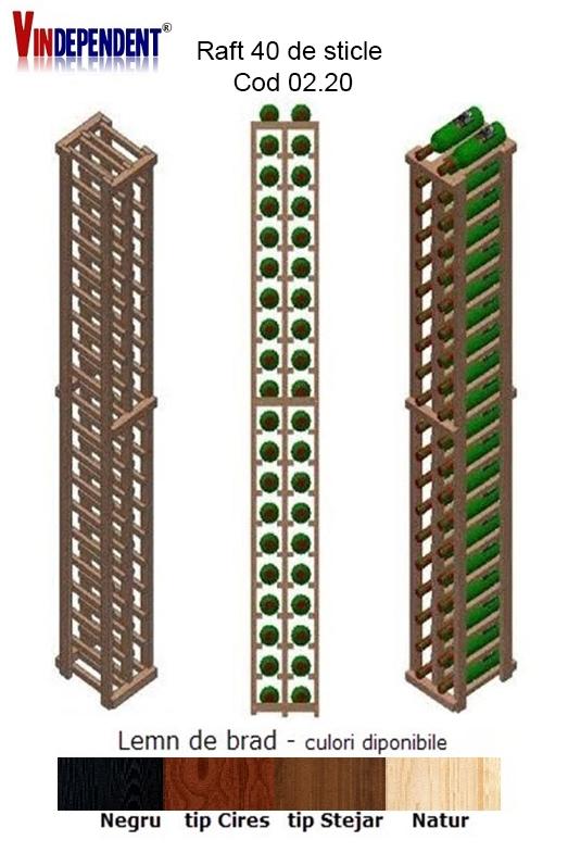Raft din lemn pentru 40 sticle