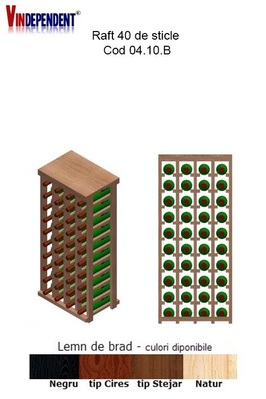 Raft din lemn cu blat pentru 40 de sticle