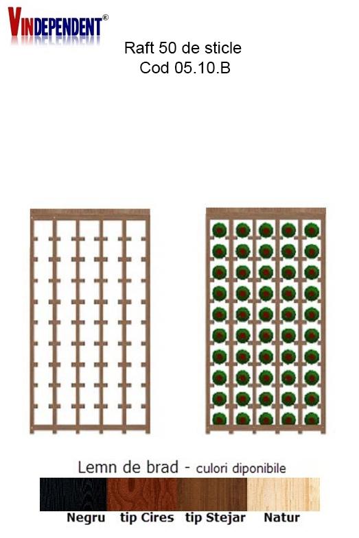 Raft din lemn cu blat pentru 50 de sticle
