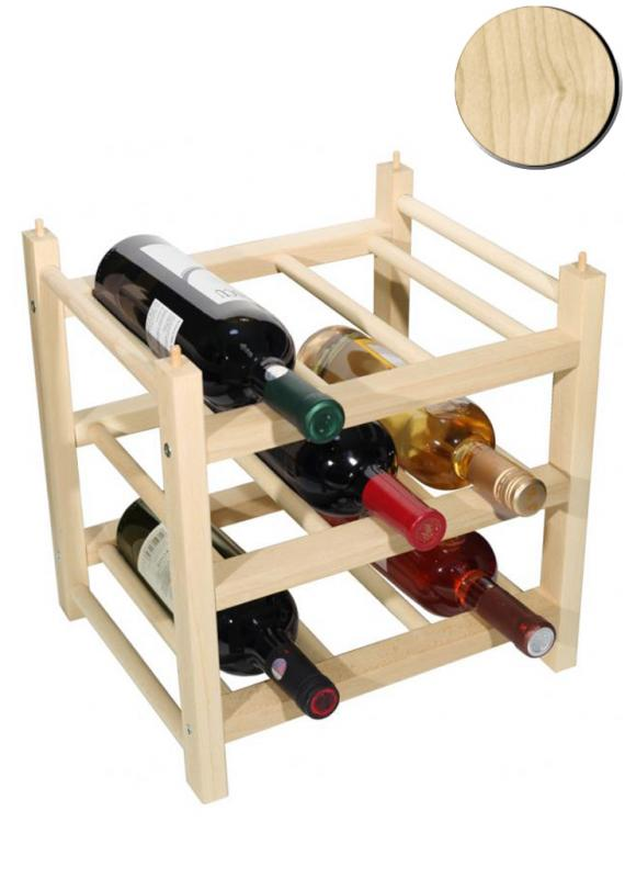 Raft lemn natur 9 sticle vin Clever