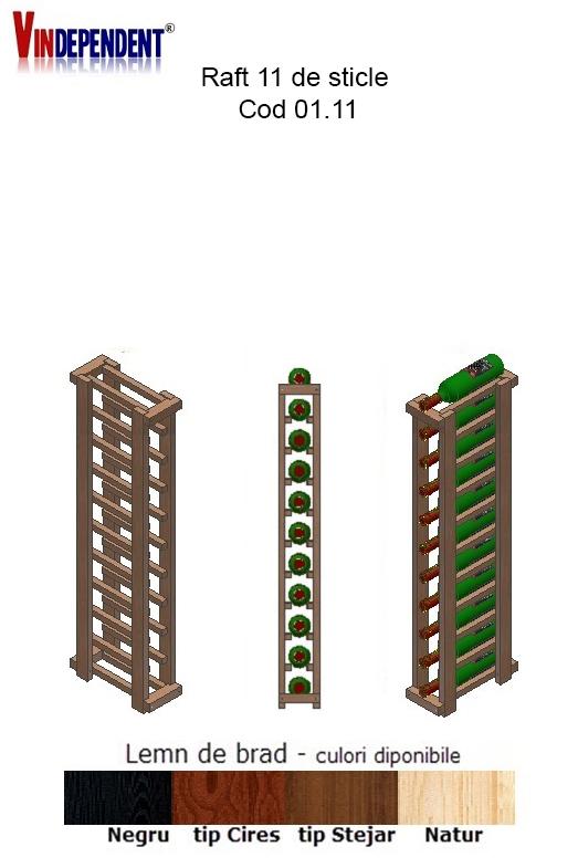Raft din lemn pentru 11 sticle