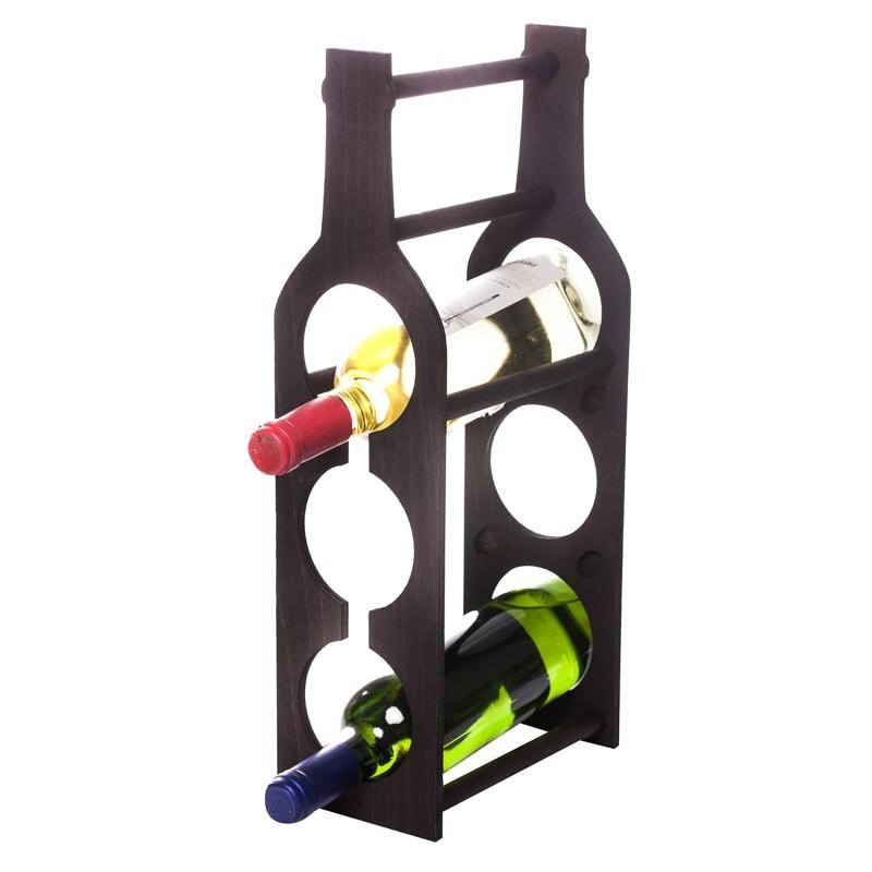 Raft Wine House negru vertical 3 sticle vin