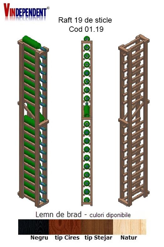Raft din lemn tip display pentru 19 sticle